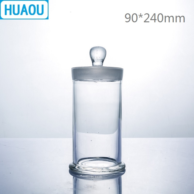 HUAOU 90*240mm Specimen Jar With Knob And Ground-In Glass Stopper Medical Formalin Formaldehyde Display Bottle