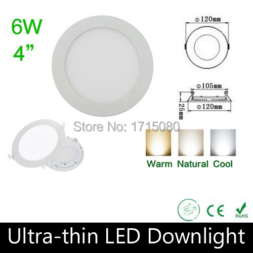 10 pcs/lot Ultra thin design 6W LED panel light round LED Recessed ceiling light natural white for home lighting lamp Via DHL ...