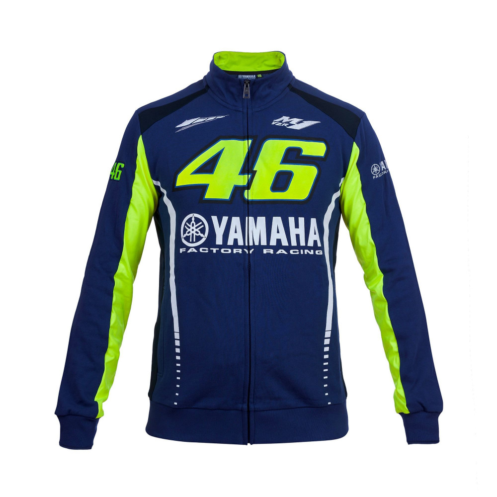 Valentino Rossi MotoGP VR46 para Yamaha Racing Azul Mens FELPA Zip-up Hoodie Fleece Esportes Camisola Sweate