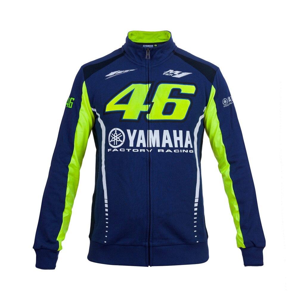 Valentino Rossi VR46 für Yamaha Racing Blau MotoGP Herren FELPA Zip-up Sweate Hoodie Sport Fleece-Sweatshirt