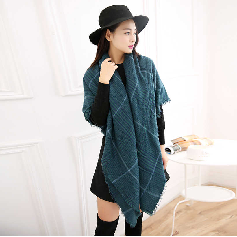 2019New Women Scarf Fashion Blue Cashmere Plaid Cotton Winter Shawl  Ladys Luxury Thick  Warm Soft  Men Scarf Unisex Accessories