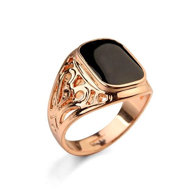 80b4038a57cf Tamaño completo italina moda masculina Anillos Rosa oro color hombres  anillo negro boda eneament joyería