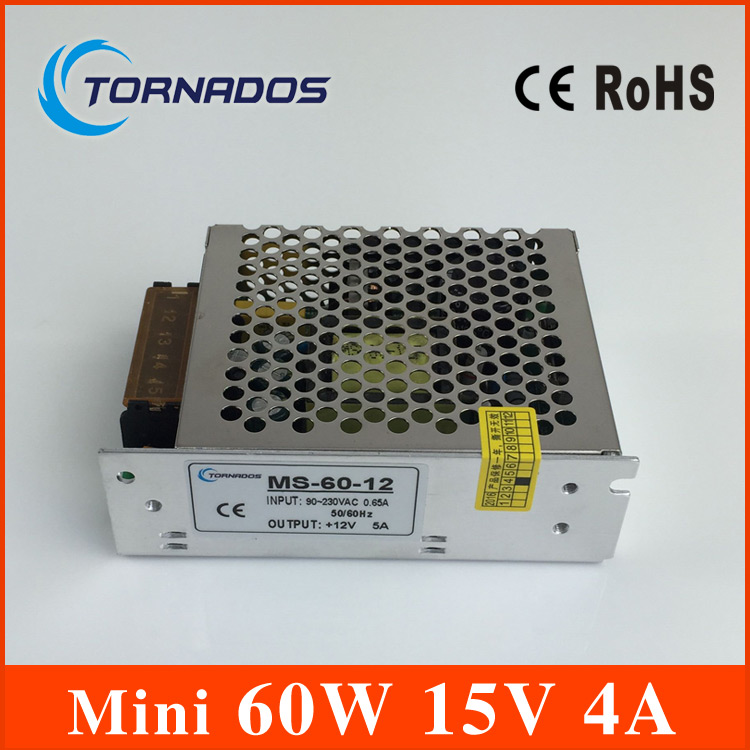 Small Volume Single Output mini size Switching power supply MS-60-15 60W 15V 4A ac dc converter