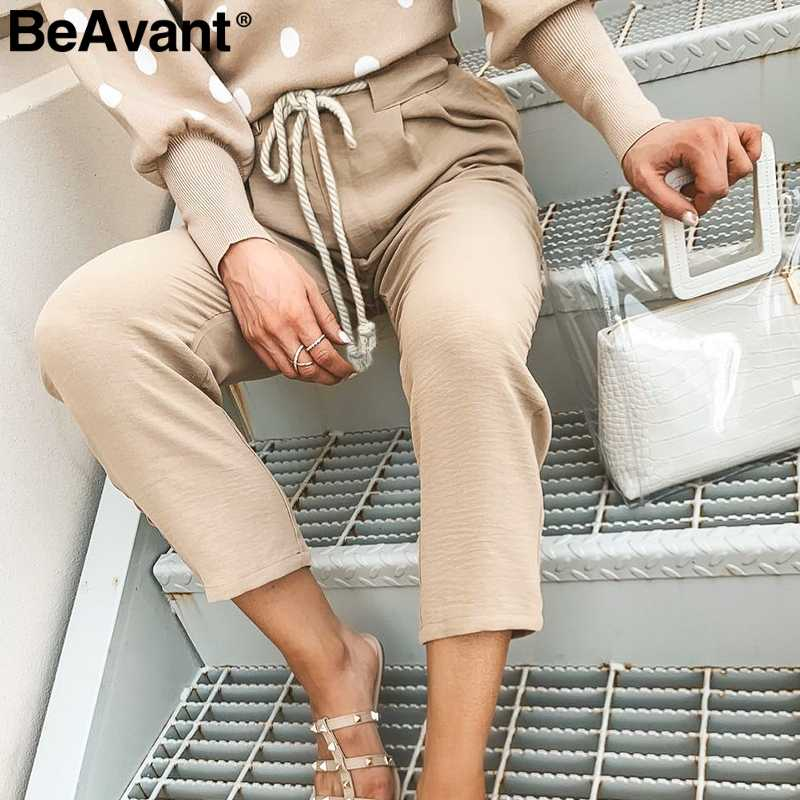 BeAvant Casual string women harem pants Loose khaki lace up pleated female pants capris Streetwear pocket plus size ladies pants