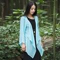 Sólida manga Longa de Linho estilo Quimono Camisa Blusa Mulheres Verão Projeto Blusas Kimono Camisa de Linho Solto Casual Mori menina B062