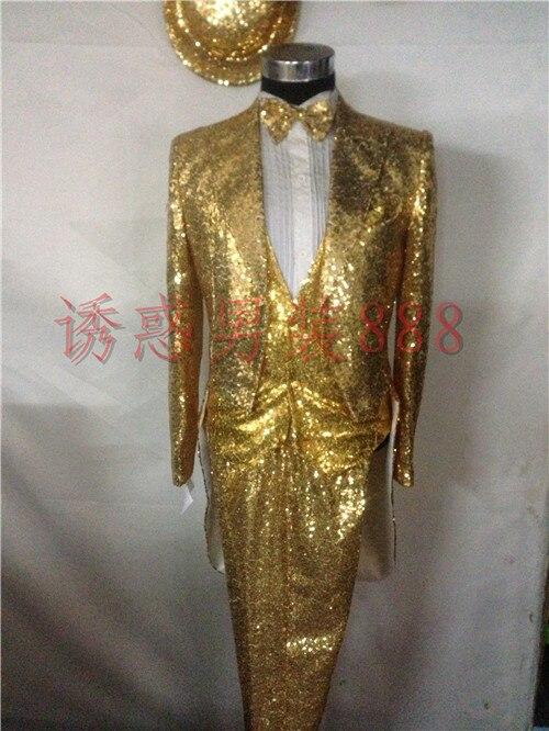 S 3xl 2017 Men S Clothing Fashion Sequin Tail Coat Suit
