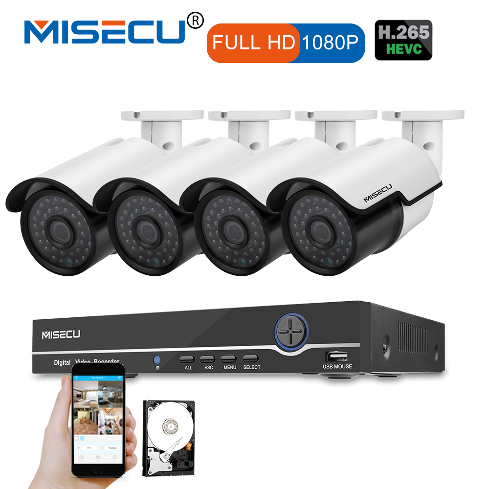 MISECU 1080P HDMI 8CH NVR KIT real POE 48v 2.0MP POE IP Camera Night Vision Waterproof IR P2P Onvif CCTV 4pcs Surveillance cctv poe nvr kit 8ch cctv system 1080p hdmi poe nvr 8x2 4mp ir mini camera p2p poe power over ethernet cctv security camera kit