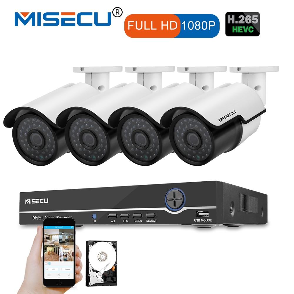 MISECU 1080P HDMI 8CH NVR KIT реальные POE 48 В 2.0MP POE IP Камера Ночное видение Водонепроницаемый ИК P2P Onvif CCTV 4 шт. видеонаблюдения