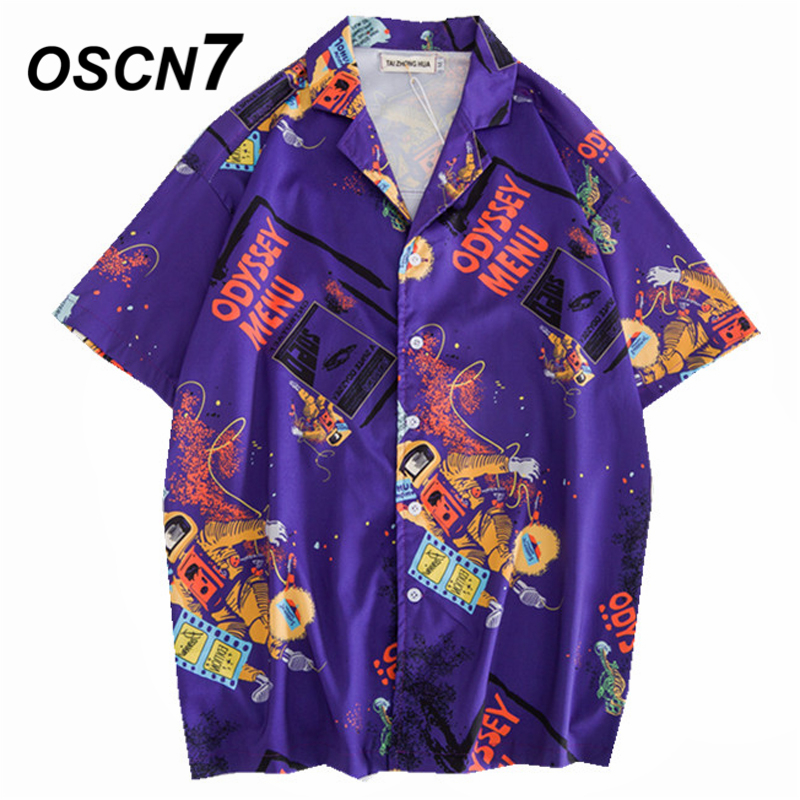 OSCN7 2019 Casual Printed Short Sleeve Shirt Men Street 2019 Hawaii Beach Women Fashion Short Sleeve Shirts Harujuku Mens 406