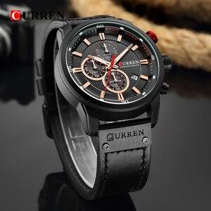Image 4 - CURREN יוקרה מותג גברים צבאי ספורט שעונים גברים של קוורץ שעון עור רצועה עמיד למים תאריך שעוני יד Reloj Hombre