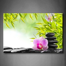1 Pics Framed Wall Art Pictures Spa Zen Stones Orchid Water Canvas Print Botanical Posters With Wooden Frames For Decor botanical print shirt