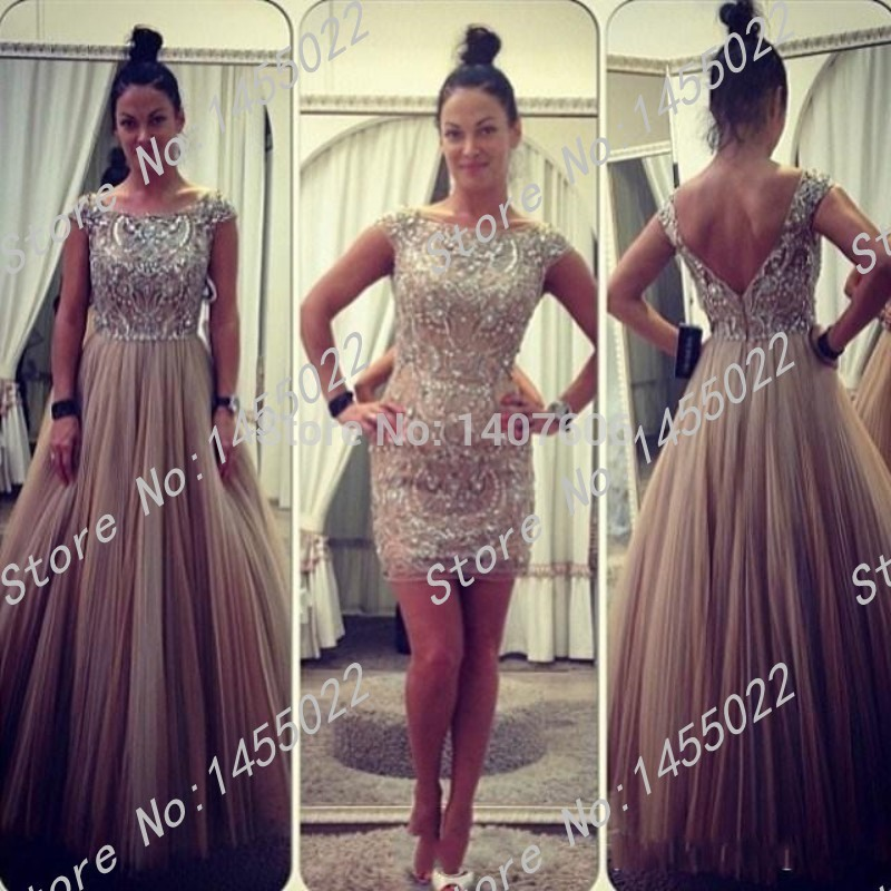Free Shipping 2015 Sheath Scoop Cap Sleeve Prom Dress Removable
