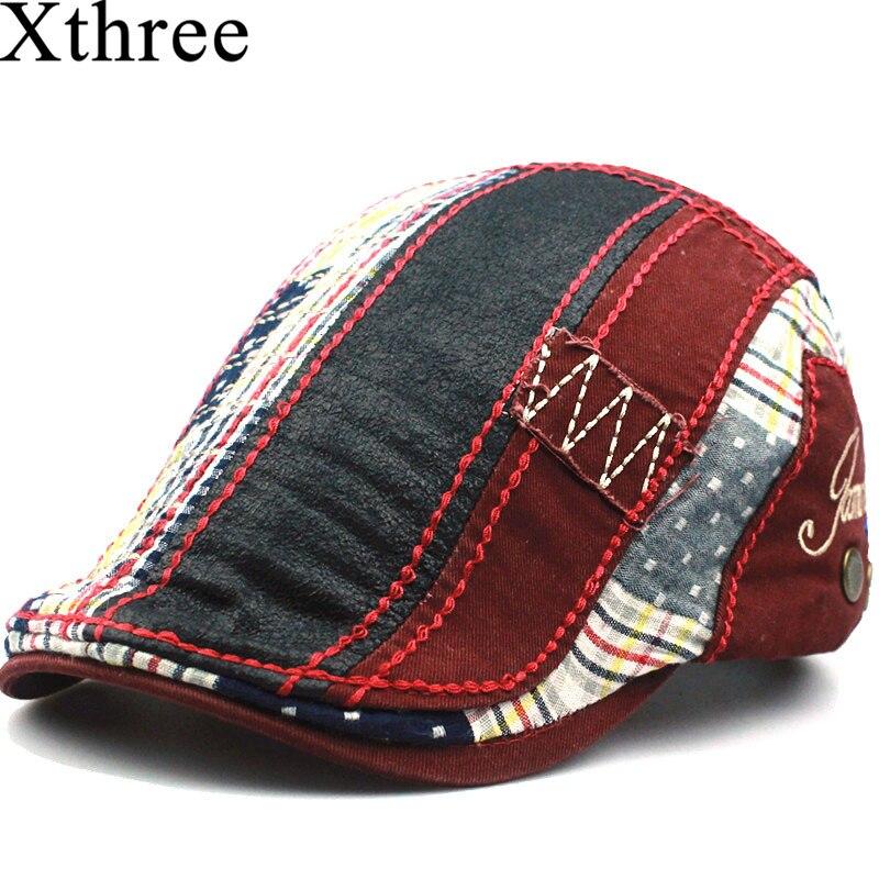 Xthree Fashion Beret hat casquette cap Cotton Hats for Men and Women children's Visors Sun hat Gorras Planas Flat Caps