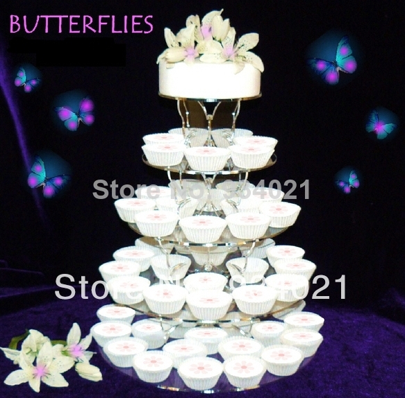 Hot Selling Free Shopping/5 Tier Butterfly Acrylic Cupcake Stand / Plexiglass  Round Cup Cake Stand Wedding Decoration