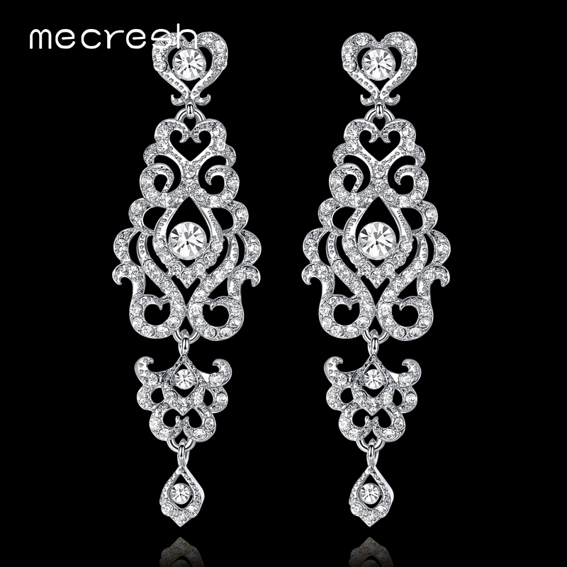 Mecresh Unique Chandelier Wedding Long Earrings for Women Silver/Gold Color Crystal Bridal Hanging Earrings Party Jewelry MEH950