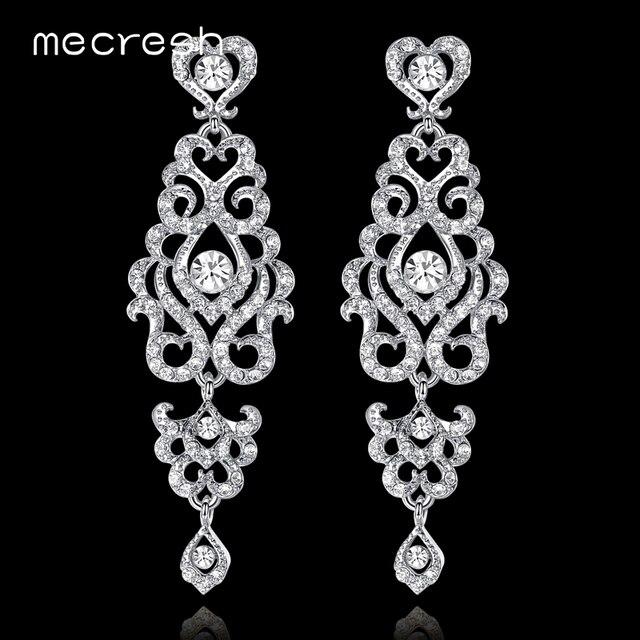 Mecresh уникальная люстра свадебные длинные серьги для Для женщин серебро/золото Цвет Кристалл Люкс висячие серьги вечерние украшения MEH950