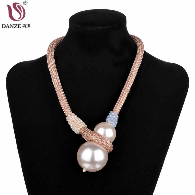 DANZE New Gothic Big Double Simulated Pearl Chokers For Women Bling Crystal Beads Rope Necklace Women Temperament Jewelry