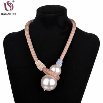 DANZE Новый готический большой двойной имитация жемчуга Чокеры для женские со сверкающими кристаллами Бусы Веревка ожерелье Женские темпера... >> YIWU DANZE Fashion Jewelry 4