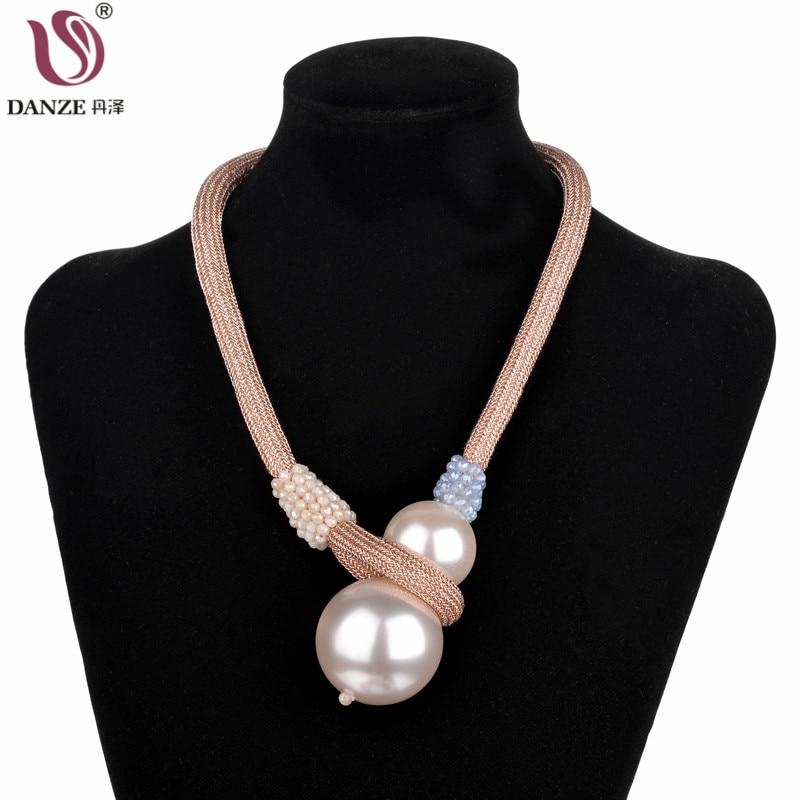 Obligatorisch Danze Neue Gothic Big Doppel Simulierte Perle Colliers Für Frauen Bling Kristall Perlen Seil Halskette Frauen Temperament Schmuck