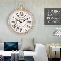 Vintage Round Wall   Clock   Roman Numeral Wall   Clocks   Home Living Room Decorative Brief Antique Design Silent Hanging Wall   Clock