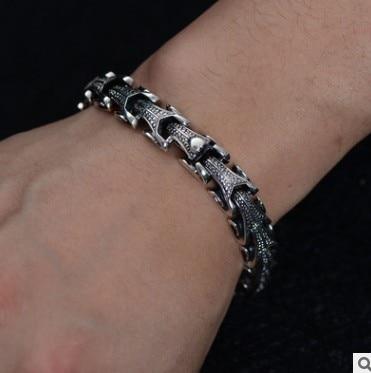 925 пробы Серебряный винтажный тайский серебряный широкий тяжелый Ретро мужской Змеиный браслет 21,5 см - 4