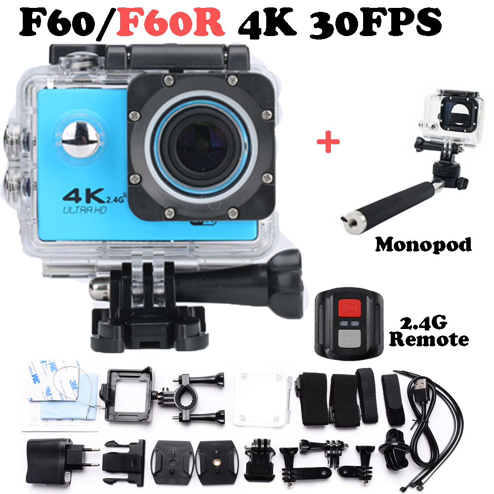 Hot sale go pro style F60 / F60R Ultra HD 4K Action Camera Wifi 2.0 inch screen 170 Wide Lens waterproof Action cam Add Monopod