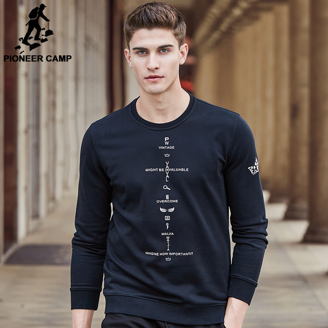 Pioneer Camp new fashion autumn spring hoodies men brand clothing male hoodies top quality black printed sweatshirts male 699117