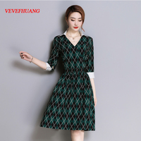 df138004045443 2018 Spring Vintage Women Knee Length Dress Full Sleeve Slim V Neck Elegant  Color Diamond Lattice