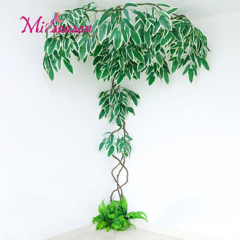 Nouveau bricolage vert aménagement paysager feuilles artificielles décoration d'intérieur pour la maison de mariage salon mur faux fleur plante décorative