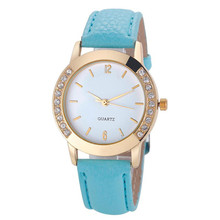 Relojes Feminino watch Women Casual Faux Leather Strap erkek kol saati Quartz Watch Diamond Gold Round Case Ladies Dress Clock