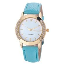 Relojes Feminino watch Women Casual Faux Leather Strap erkek kol saati Quartz Watch Diamond Gold Round Case Ladies Dress Clock