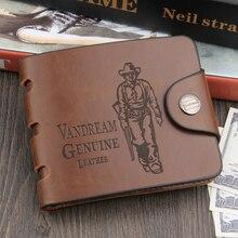 Genuine Leather Wallet Men Clip Cowhide Wallet Men Brand Coin Wallet Small Clutches Men's Purse Coin Pouch Short Men Wallet