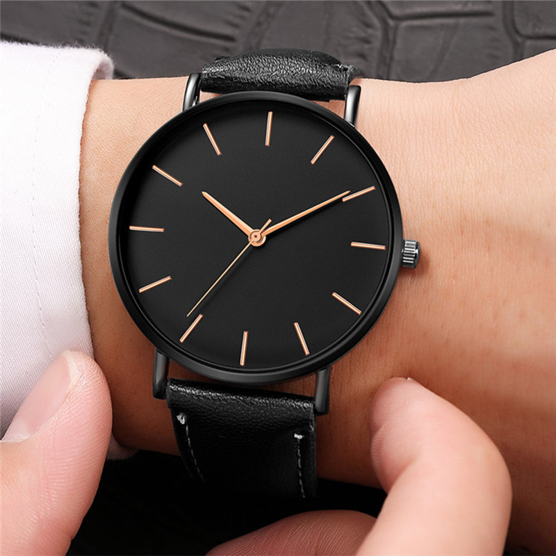 Business Men Simple Shockproof Watches Custom Color Drop Shipping Waterproof Leather Wristwatches Orologio Uomo 2019 Black Clock