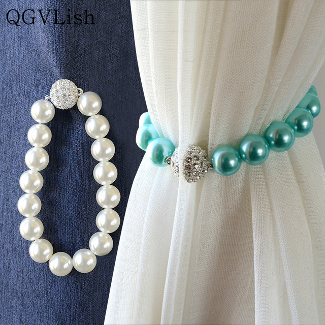 QGVLish 2Pcs Peal Beads Diomand Magnetic Curtain Tiebacks Strap Hanging Belt Accessories Hooks Buckle Holder