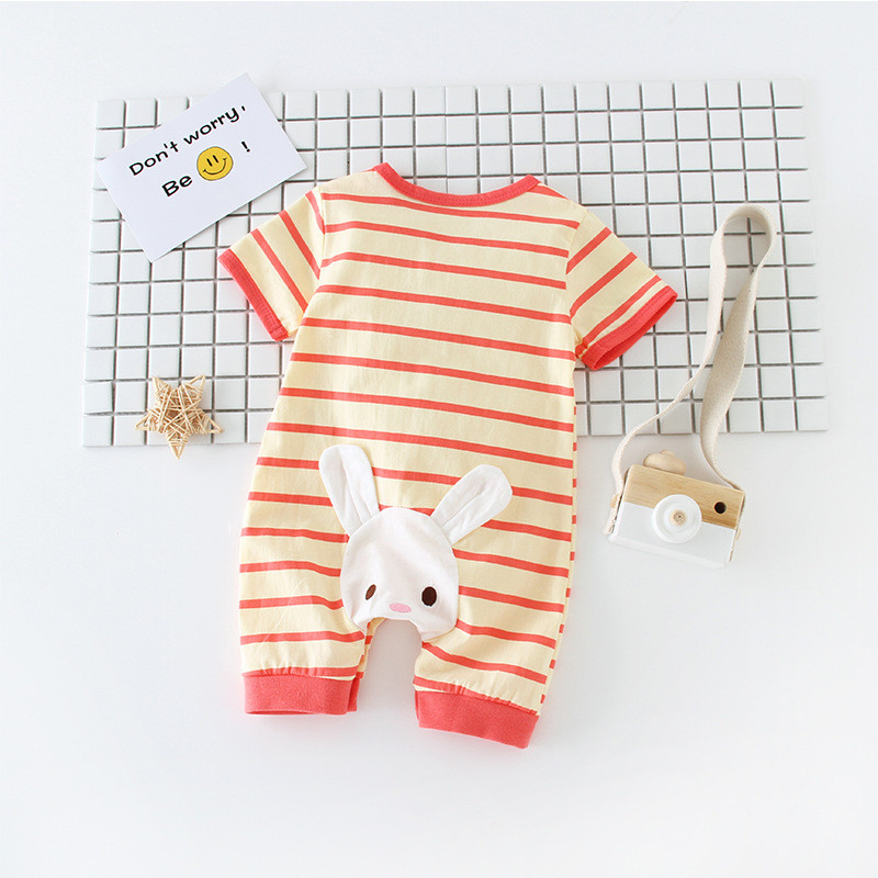 Baby summer jumpsuit bebe boy girl cotton clothing short-sleeved boxer romper Cartoon rabbit stripe jumpsuits
