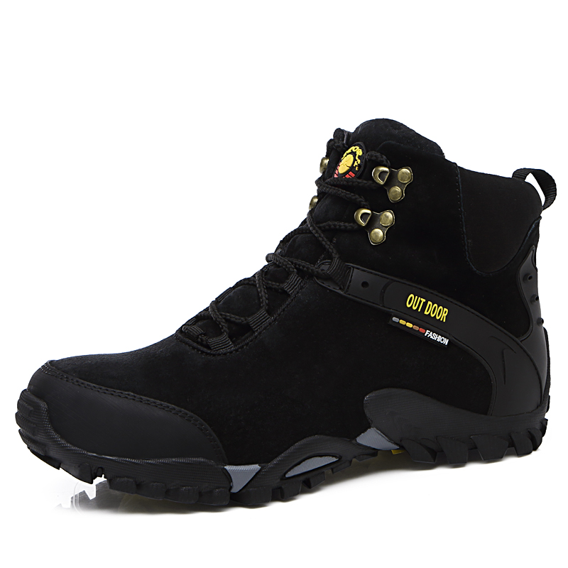 2017 New Autumn Winter Outdoor Sport Shoes Men Thermal Mountain Boots High Top Camping & Hiking Sneakers Fur Warm Rock Climbing 2017 autumn winter mens hiking trainers rubber outdoor men shoes lace up outdoor man sneakers wearable high mountain boots