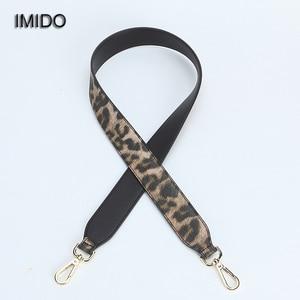 IMIDO Fashion Leopard 102cm Long bag Strap for Handbags Women pu Leather replacement straps shoulder belt accessories Red STP112