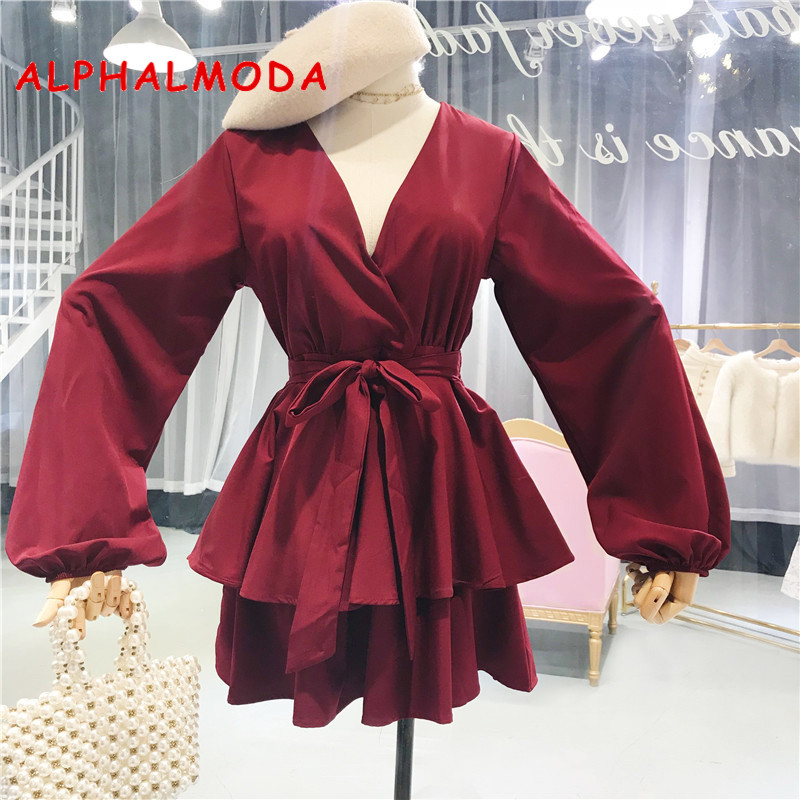 ALPHALMODA 2018 Autumn Long-sleeved Bow Sashes Playsuits Solid Color Deep V-neck Slim Ruffled Women's Fashion   Jumpsuits   Rompers