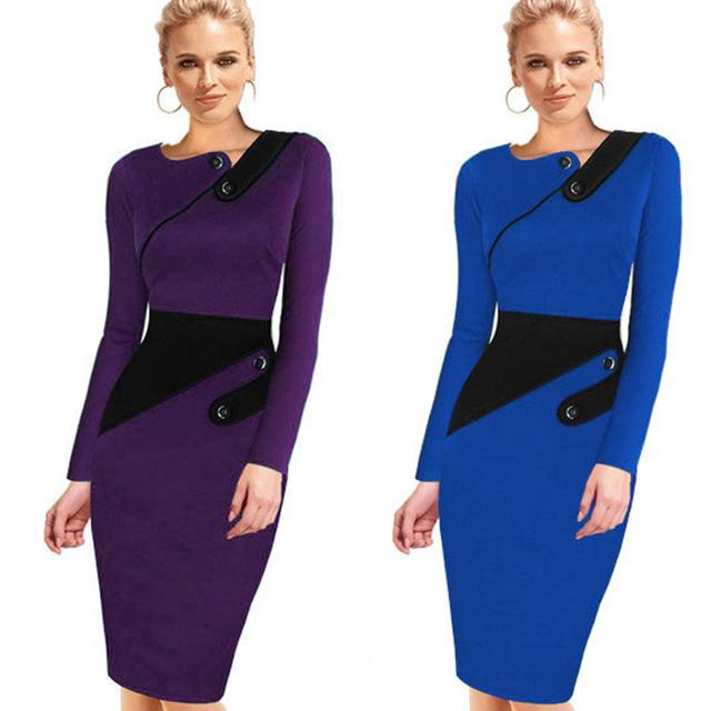 Black Dress Tunic Women Formal Work Office Sheath Patchwork Line Asymmetrical Neck Knee Length Plus Size Pencil Dress B63 B231