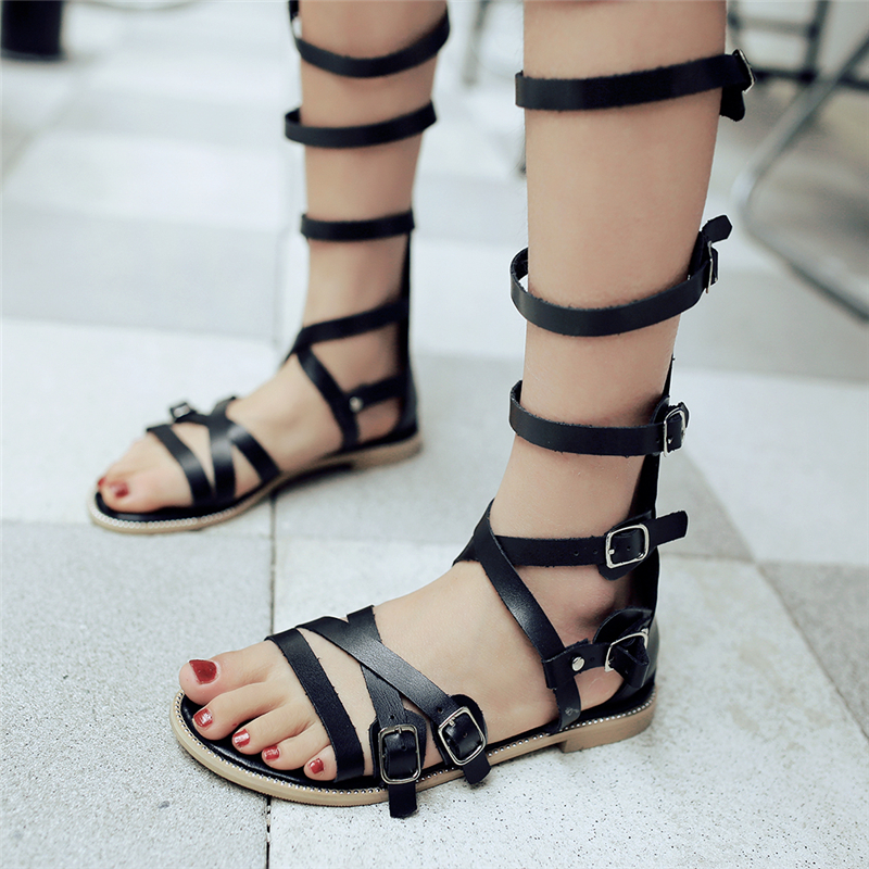 ФОТО 2016 small big size roman style knee high buckles women casual shoes fashion zip up open toe black outdoor sandals high quality