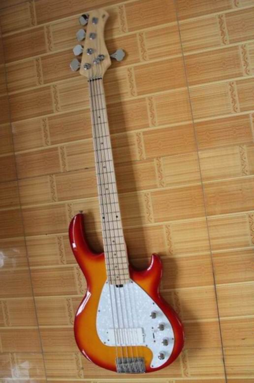New Arrival 5 String Electric Bass Guitar Musicman 5 Strings Erime Ball StingRay  In Cherry Burst Top Quality 130516