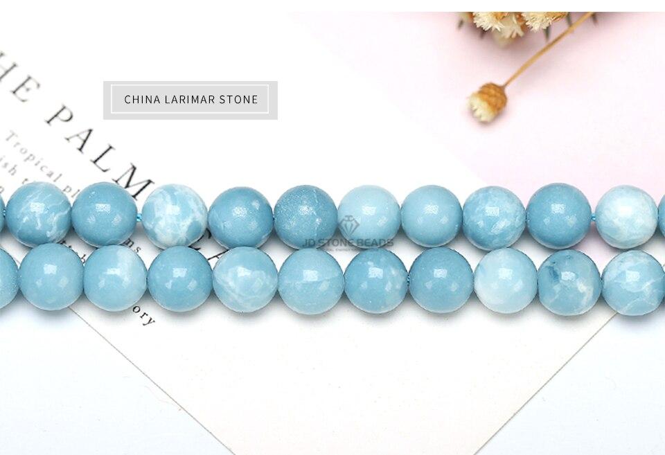 HTB1JYAYXcvrK1Rjy0Feq6ATmVXaZ 6 8 10 12MM Larimar gemstone Round Loose beads Matte Ocean Sea stone bracelet necklace for jewelry Making