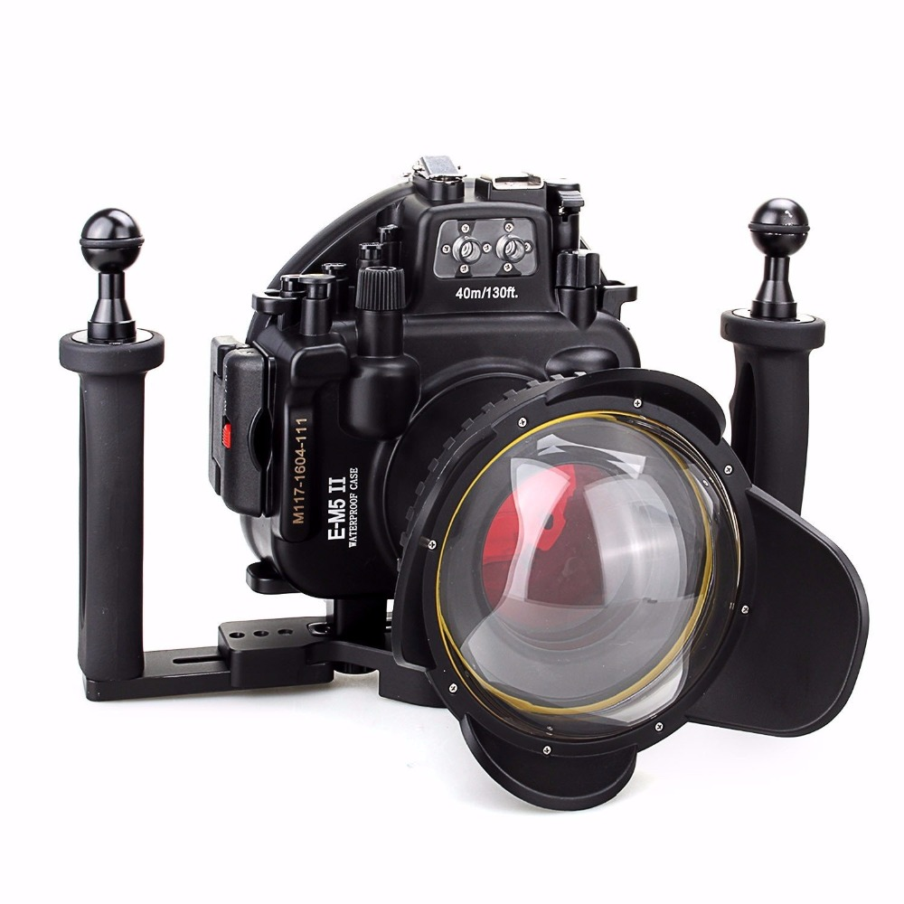 Meikon 40M/130ft Waterproof Underwater Camera Housing Diving Case for Olympus E-M5+Two Hands Aluminium Tray+ Fisheye Lens+Filter 40m 130ft waterproof underwater camera housing case cover bag for canon eos 600d t3i camera two hands tray