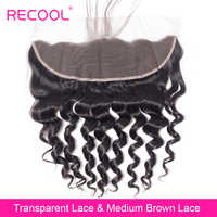 Recool Transparent Lace Frontal Closure 8-22 Inch Brazilian Loose Deep Curly Wave Swiss Lace Remy Human Hair HD Lace Frontal