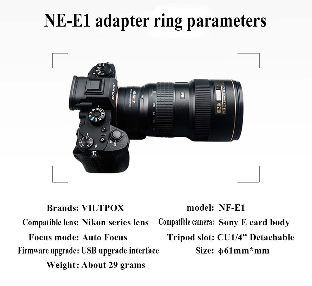 Lens Adapter Viltrox NF-E1 Auto Focus for Nikon F-Mount Series Lens for  Sony E-Mount A7II A7RIII A7SII A6500 For Nikon Sony Lens