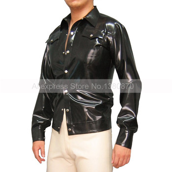 Black Rubber Latex Man Shirt Top T-shirt  with Front Bottons S-LSM034