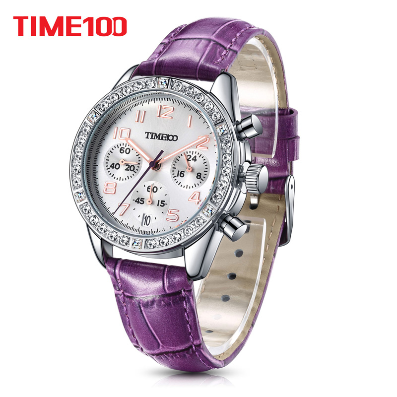 2018 Time100 Women Watches Chronograph Diamond Auto Date Sport Leather Strap Casual Quartz Wrist Watches For Women relojes mujer time100 watch men black leather strap quartz watches calendar auto date business casual wrist watches relogios masculino