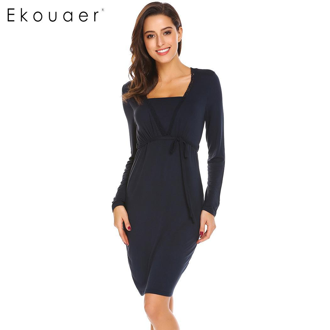 Ekouaer Women Sexy Nursing Nightgown Long Sleeve Casual Nightdress Package Hip V-Neck Lace Patchwork Female Pregnant Night Dress