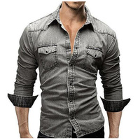 Thời trang Men của Jeans Casual Slim Fit Thời Trang Denim Áo Sơ Mi Áo Dài Tay Màu Xám Quần Jeans Áo Sơ Mi