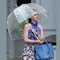 Прочный прозрачный длинный женский зонт полуавтоматический портативный размер для девочек Солнечный дождливый полиэстеровый зонт для дож...